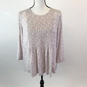 DownEast Smocked Paisley Blouse M